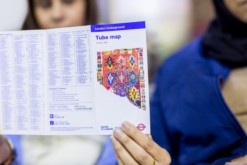 …fragment of a Magic Carpet, circa 1213, Pae White, Tube Map Cover  Photo: Benedict Johnson