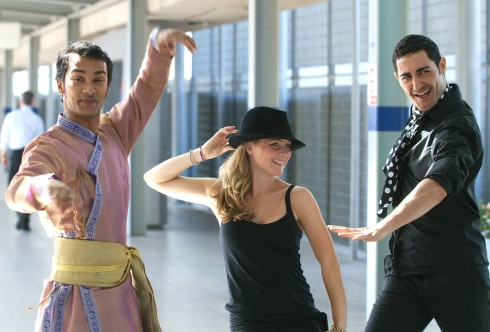 Dancers in station foyer