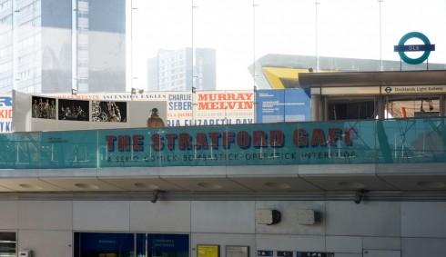 Matt Stokes, 'The Stratford Gaff: A Serio-Comick-Bombastick-Operatick Interlude', 2010. 3-channel film installation. Stratford Underground station. Photograph: Daisy Hutchison