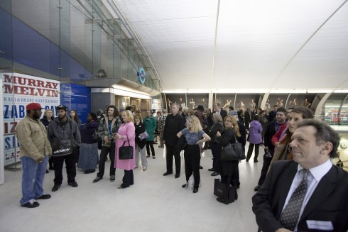 Launch for Matt Stokes' The Stratford Gaff, Stratford Underground station 2010. Photograph: Benedict Johnson