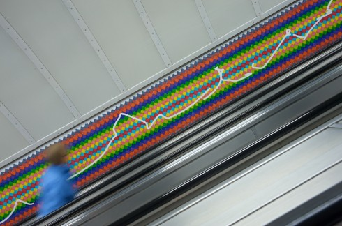 A LOCK IS A GATE © Ruth Ewan 2011. Artwork for Bethnal Green station escalators. Photograph: Daisy Hutchison
