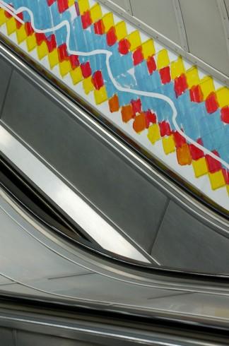 A LOCK IS A GATE © Ruth Ewan 2011. Bethnal Green station escalators. Photograph: Daisy Hutchison