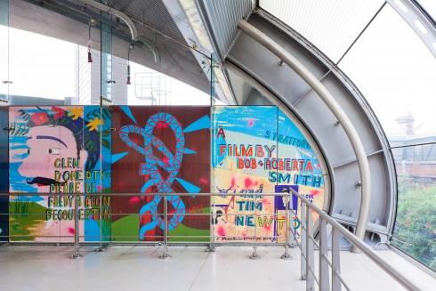 Bob and Roberta Smith and Tim Newton, Who is Community? at Stratford station, 2012. Photograph:Benedict Johnson
