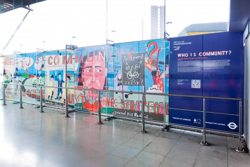 Bob and Roberta Smith and Tim Newton, Who is Community? at Stratford station, 2012. Photograph: Benedict Johnson