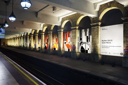 Sarah Morris, Big Ben [2012], 2012. Gloucester Road station 