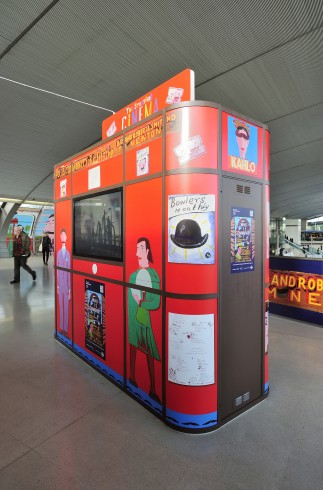 Bob and Roberta Smith and Tim Newton, The Stratford Cinema Kiosk in situ at Stratford station, part of the Who is Community? project, 2012. Photograph: Thierry Bal