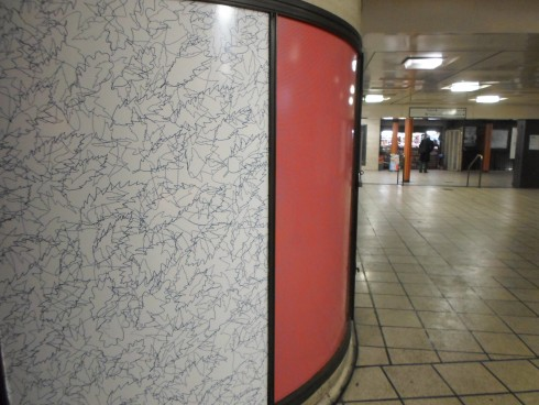 Jacqueline Poncelet, Rewrap, Piccadilly Circus station, 2013. * Note: Only a part of the artworks have been installed due to engineering work at the station; the whole set of artworks will be on view from April 2013.