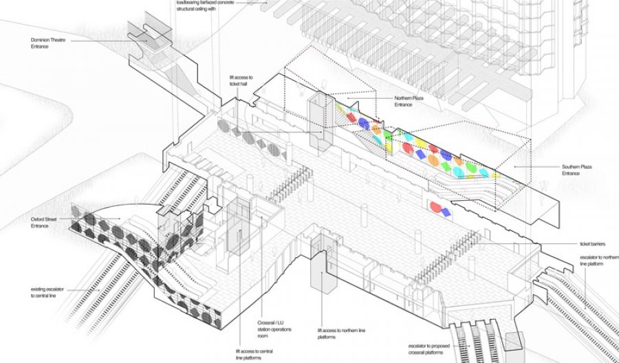Axonometric showing ticket hall with Daniel Buren's designs. (Image: architect's visualisation Hawkins Brown)
