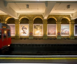 View of Gloucester Road station with installed artworks.