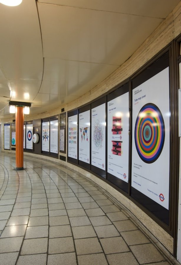 Tube map cover series installed in Piccadilly Circus, 2011. Photograph by Daisy Hutchison.