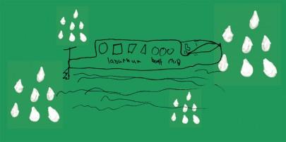 Illustration of boat in rain