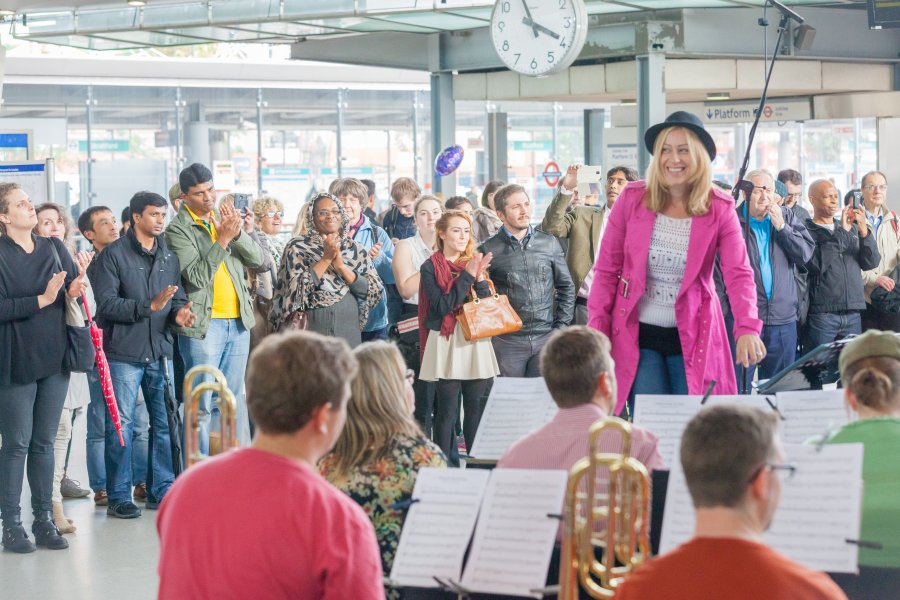 East London Brass, The Palace That Joan Built, Mel Brimfield & Gwyneth Herbert, Stratford station, October 2014 Photograph: Benedict Johnson