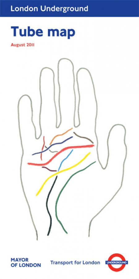 All my lines in the palm of your hand by Michael Landy. Tube map cover August 2011