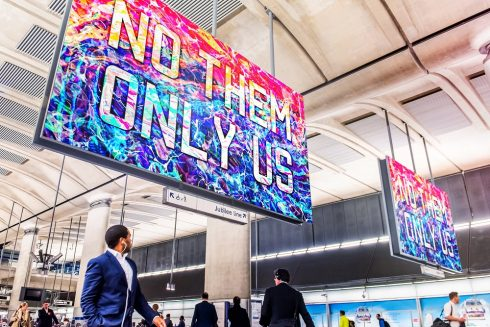 No Them Only Us, Mark Titchner, Canary Wharf station, 2016