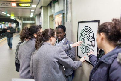 Students examining a Labyrinth