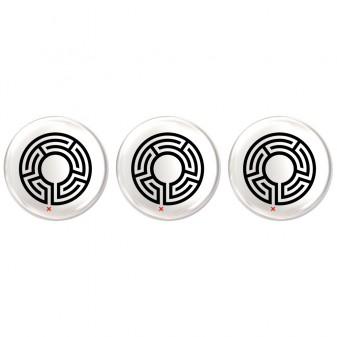 3 labyrinth pin badges