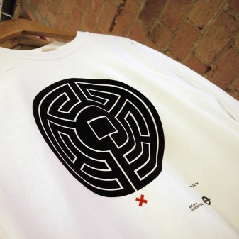 detail of Labyrinth printed on sweatshirt