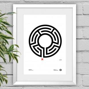 Labyrinth – white framed poster print
