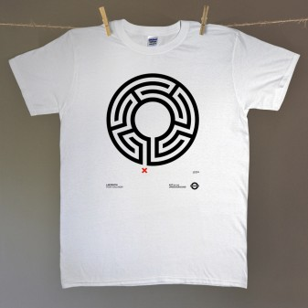 Labyrinth t-shirt hung on line