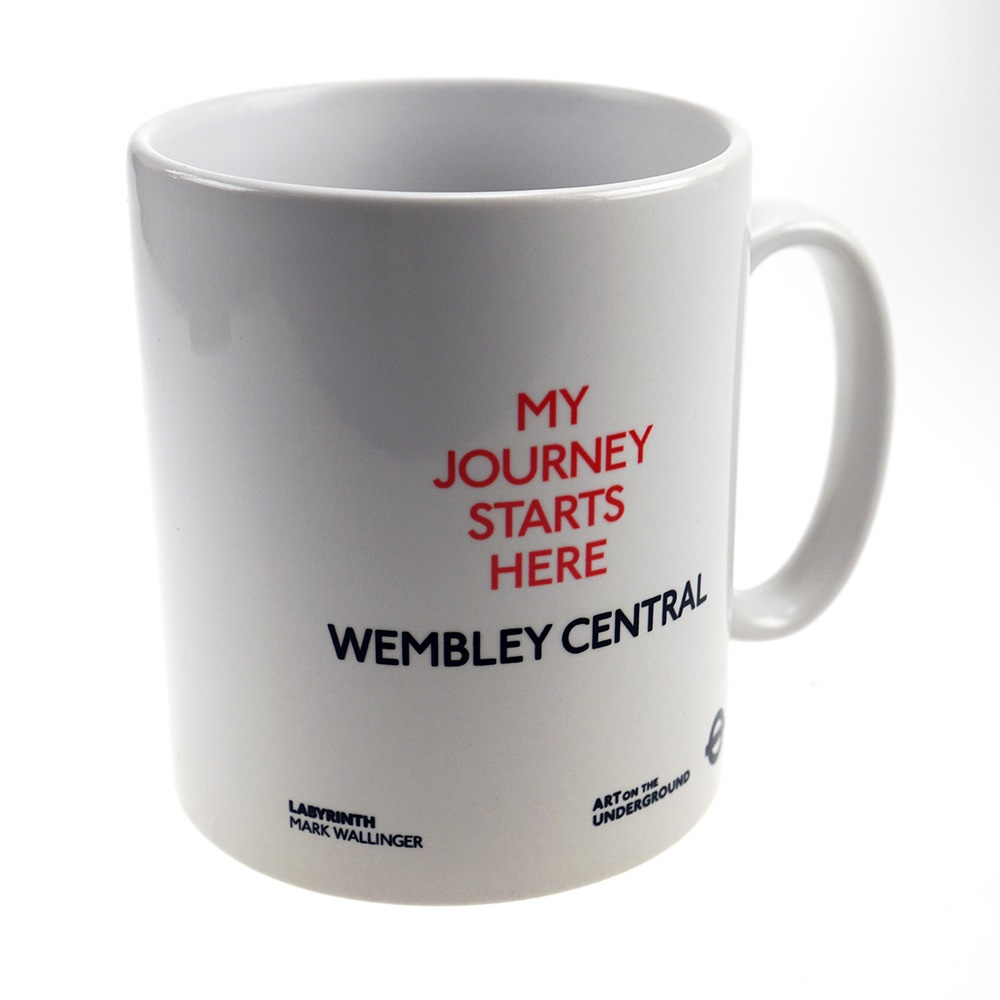 Mug detail, text on mug reads My Journey Starts Here Wembley Central