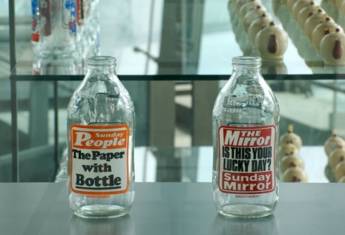 Alan Kane, The Stratford Hoard: Tyler Harrington, Printed Milk Bottles from the late 20th Century (2008). Photograph: Daisy Hutchison