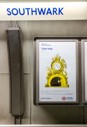 Design for a magnificent London Underground Grand Pendulum in gilt bronze, Pablo Bronstein, Tube Map cover, 2015 Photo: Benedict Johnson