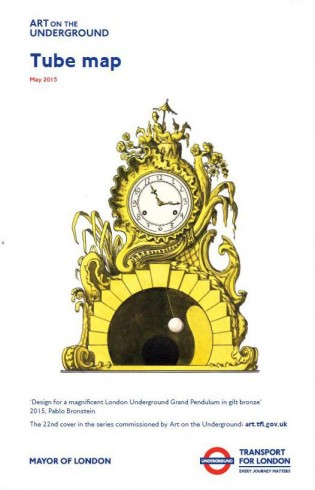 Design for a magnificent London Underground Grand Pendulum in gilt bronze, Pablo Bronstein, Tube Map cover, 2015