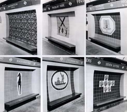 Contact print showing tiled motifs at rear of seat recesses on Victoria line platforms at Walthamstow  Central, Finsbury Park, Highbury & Islington, Blackhorse Road, Tottenham Hale and Seven Sisters  stations,  1969 Photograph Dr Heinz Zinram