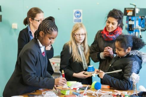 Crafting the Line, Jasleen Kaur with Arts & Media School, Islington, 2016. Photograph Benedict Johnson