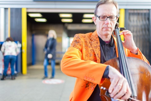 Matt Rogers, Displaced Duet Part 1 (Tim Gill, cello at Walthamstow Bus Station), 2016.