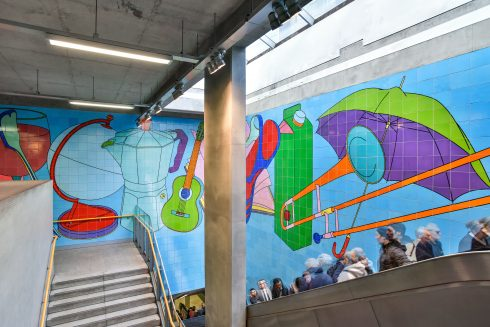 Woolwich Arsenal DLR station, Street Life, Michael Craig-Martin, 2009