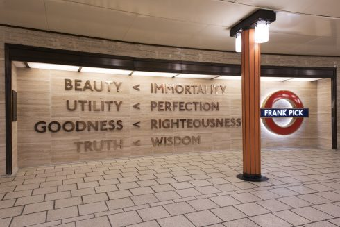 'Beauty < Immortality', Langlands & Bell, Piccadilly Circus station, 2016, Photo: Thierry Bal, © TFL