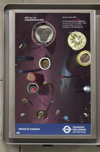 Samara Scott, Night Tube pocket map commission 2016. Photo: Benedict Johnson, 2016
