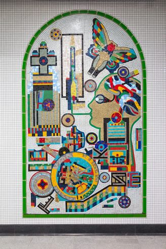 Eduardo Paolozzi, Relocated Mosaic Panel, Tottenham Court Road station, 1986. Photo: TfL, 2017