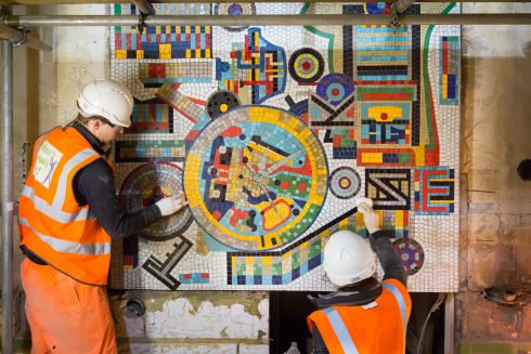 Eduardo Paolozzi, Mosaic Panel, Tottenham Court Road station, 1986. Photo: TfL, 2016