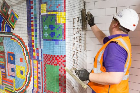 Eduardo Paolozzi, Tottenham Court Road station, 1982. Photo: TfL, 2016