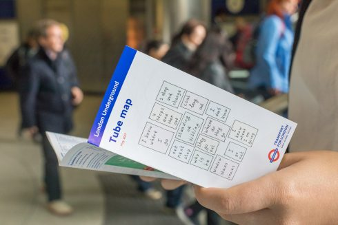 Out Next Stop, Lily van der Stokker, Tube Map Cover, 2017. Photo; Benedict Johnson, 2017