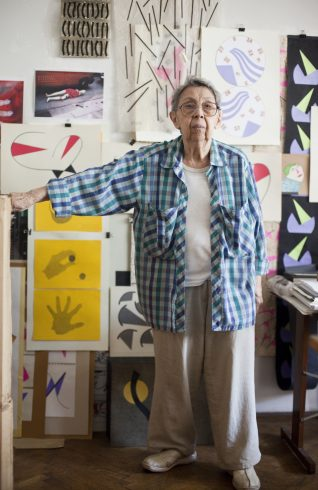 Geta Brătescu in her Bucharest studio, February 2015. Photo: Ștefan Sava