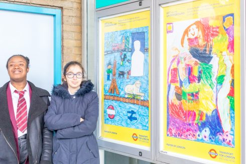 Zafirah and Sarah with their winning poster designs, 2018. Photo: Benedict Johnson, 2018