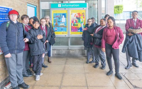 Lewisham Conisborough College students with the winning designs, Lewisham station, 2018. Photo: Benedict Johnson, 2018