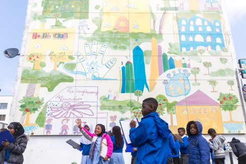 Brixton mural workshop, Loughborough Primary School. Photo: Benedict Johnson, 2018
