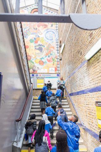 Brixton mural workshop, Loughborough Primary School. Photo: Benedict Johnson, 2018