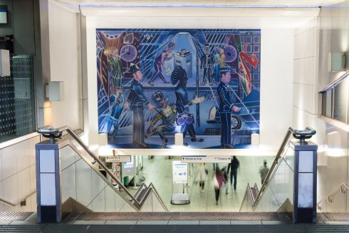 Denzil Forrester, 'Brixton Blue', 2019. Commissioned by Art on the Underground. © Denzil Forrester. Courtesy of the artist and Stephen Friedman Gallery, London Photo by Angus Mill