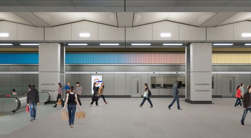 Visualisation of 'Sunset, Sunrise, Sunset', Alexandre da Cunha for Battersea Power Station. Ticket Hall view of the North Wall. Commissioned by Art on the Underground.
