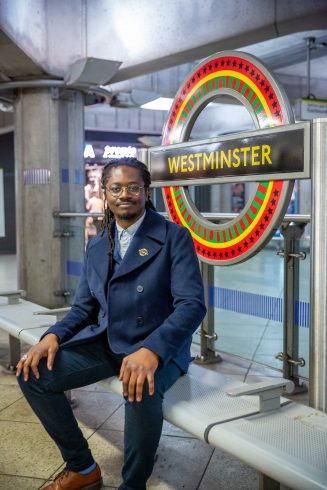 Larry Achiampong, 'PAN AFRICAN FLAGS FOR THE RELIC TRAVELLERS' ALLIANCE' 2019. Commissioned by Art on the Underground. Photo: Benedict Johnson. © Larry Achiampong. Courtesy of the Artist & Copperfield, London
