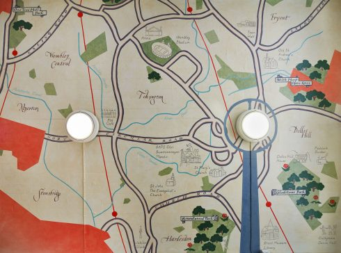 Lucy McKenzie, 'Map II (Waiting room ceiling mural Eastbound)', Sudbury Town Station, 2020. Commissioned by Art on the Underground. Photo: GG Archard, 2020