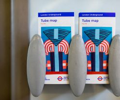 The new tube map cover, an abstract geometric collage by artist Elisabeth Wild.