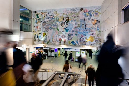 Helen Johnson, 'Things Held Fast', 2021. Brixton Underground station. Commissioned by Art on the Underground. Courtesy the artist and Pilar Corrias, London. Photo: Angus Mill, 2021