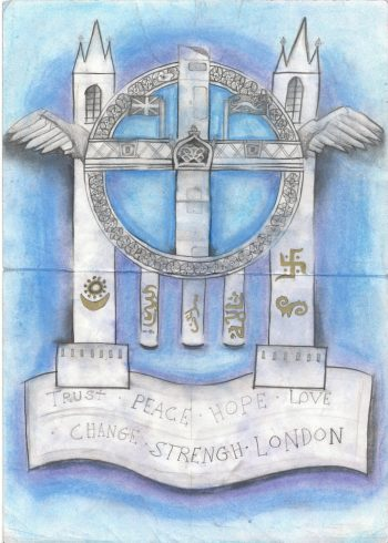'Trust, Peace, Hope, Love, Change, Strength, London' by Muhammed Tanber Ayub, Sankofa Poster Competition Runner Up Westminster City School
