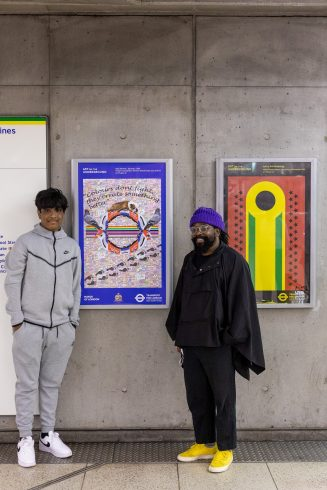 Niaz Rahman, Sankofa School Poster Competition Winner and artist Shepherd Manyika. Photo by Benedict Johnson, 2021.